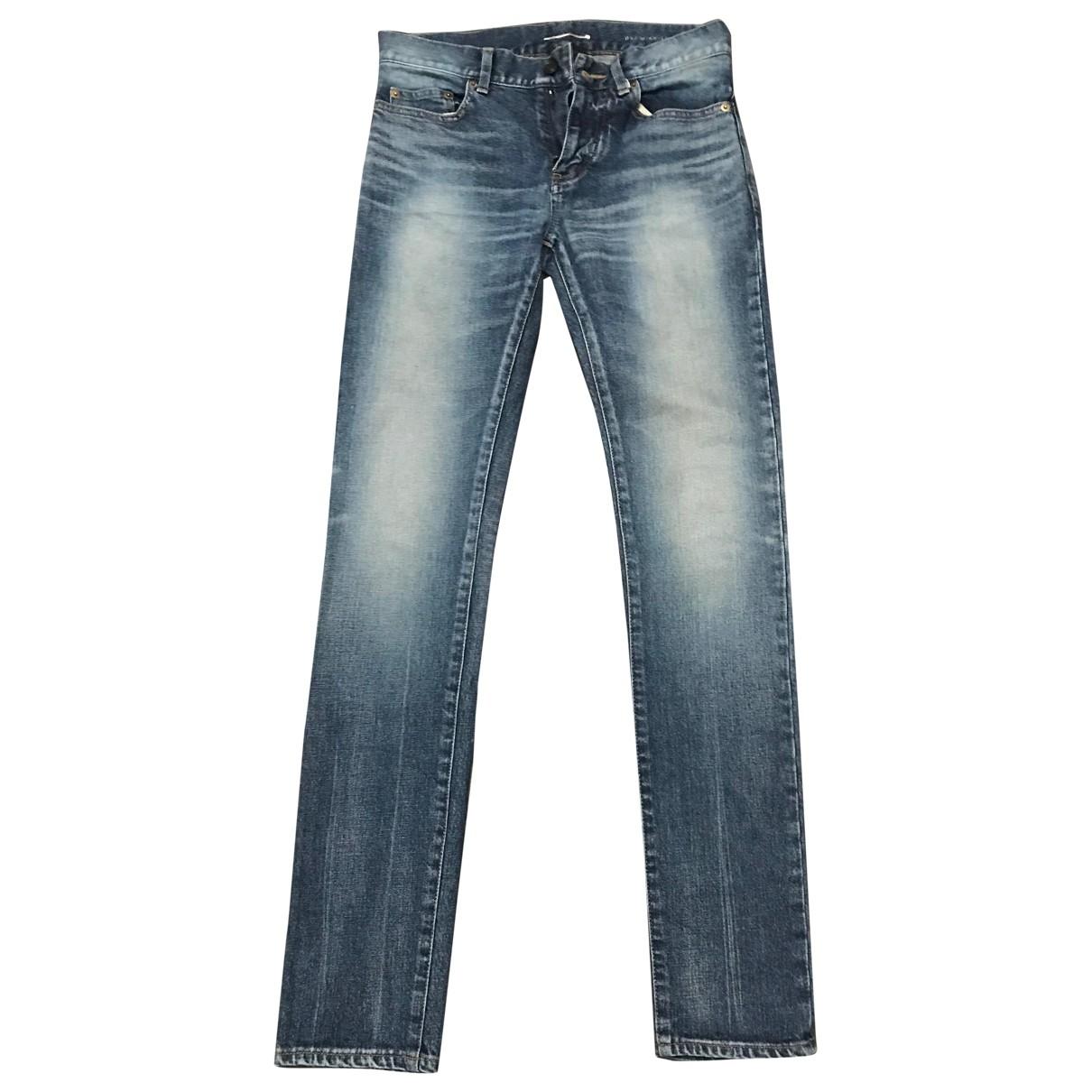 Saint Laurent \N Blue Cotton - elasthane Jeans for Men 28 US