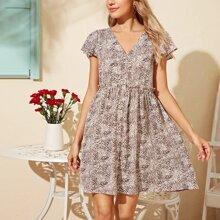 Flutter Sleeve Frill Trim Allover Print Dress