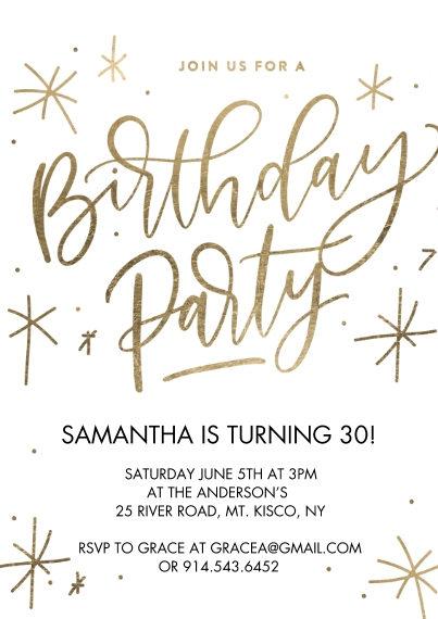 Kids Birthday Party 5x7 Cards, Premium Cardstock 120lb with Rounded Corners, Card & Stationery -Birthday Party Sparkling Gold by Tumbalina