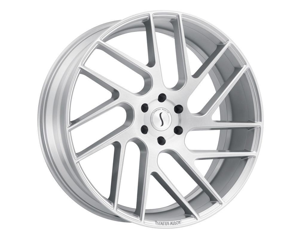 Status Juggernaut Wheel 24x9.5 5x115 15mm Silver w/ Brushed Machine Face