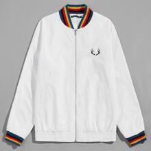 Jacke mit Grafik Muster und Regenbogen Streifen