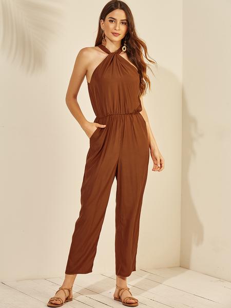 YOINS Brown Halter Pleated Sleeveless Jumpsuit