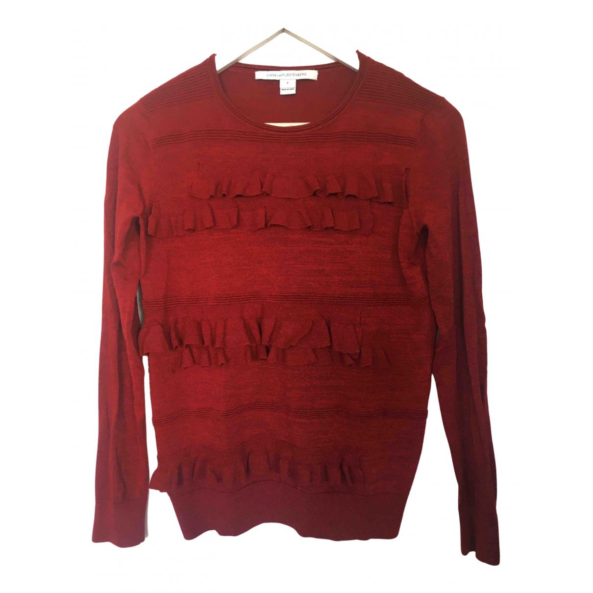 Diane Von Furstenberg - Pull   pour femme en laine - bordeaux