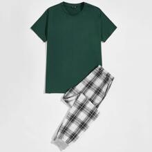 Conjunto de pijama top unicolor con pantalones de cuadros