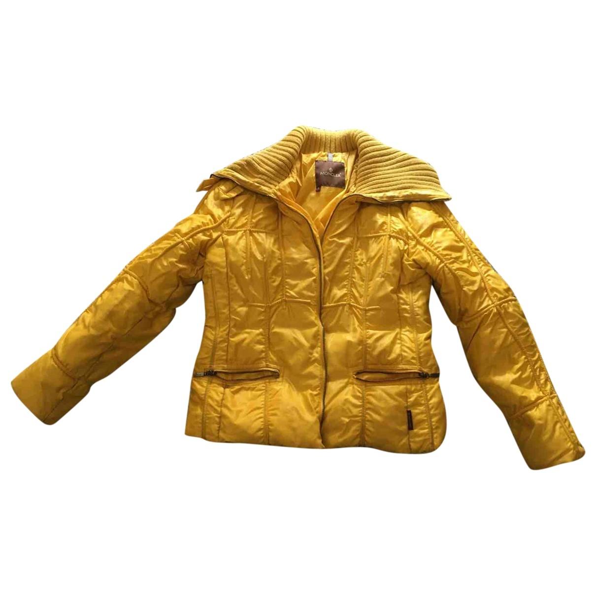Moncler Classic Yellow Cotton coat for Women 40 IT