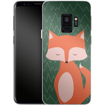 Samsung Galaxy S9 Silikon Handyhuelle - Fox on Green von caseable Designs