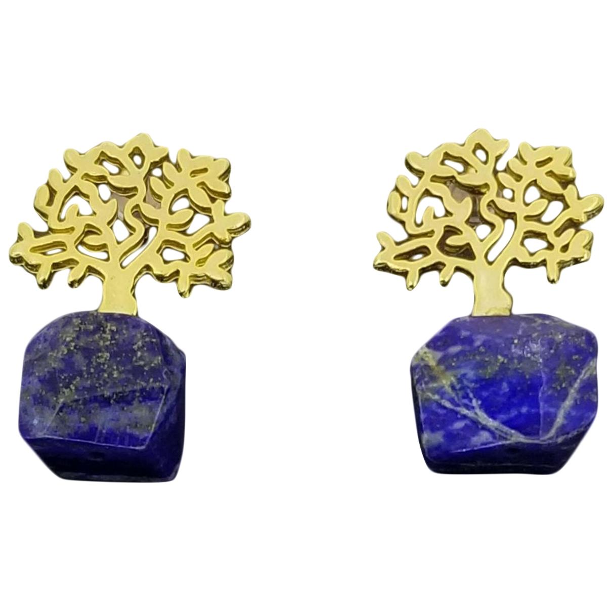- Boucles doreilles Lapis lazuli pour femme en metal - dore