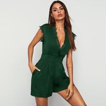 Plunging Neck Lace Trim Romper