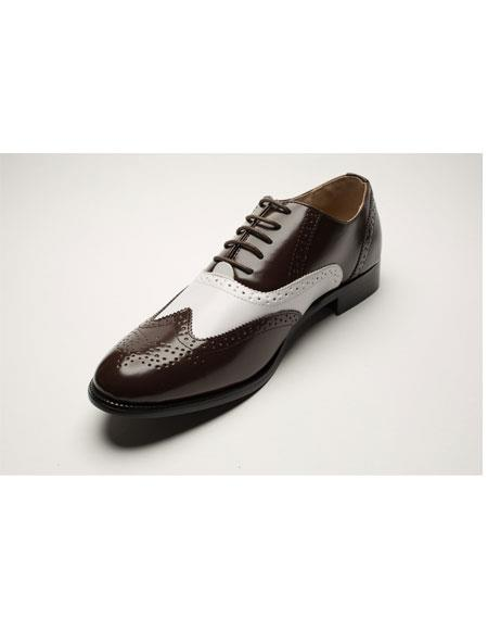 Men's Two Toned Lace Up Brown ~ White Wingtip Style Leather Shoes