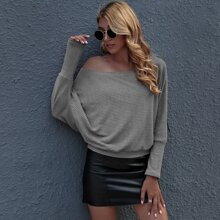 Batwing Sleeve Rib-knit Pullover