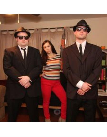Blues Brothers BrownSuit Costume+White Shirt&Skinny Black Tie Same Hat