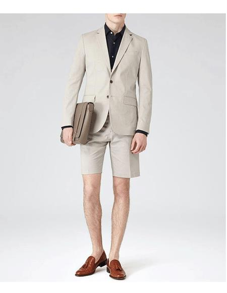 Men's Summer Business Suits With Shorts Pants Set Tan