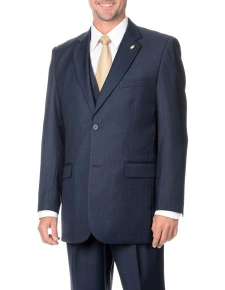 Men's Two Button Stylish Navy 3-Piece Vested Suits Flat Front Pant