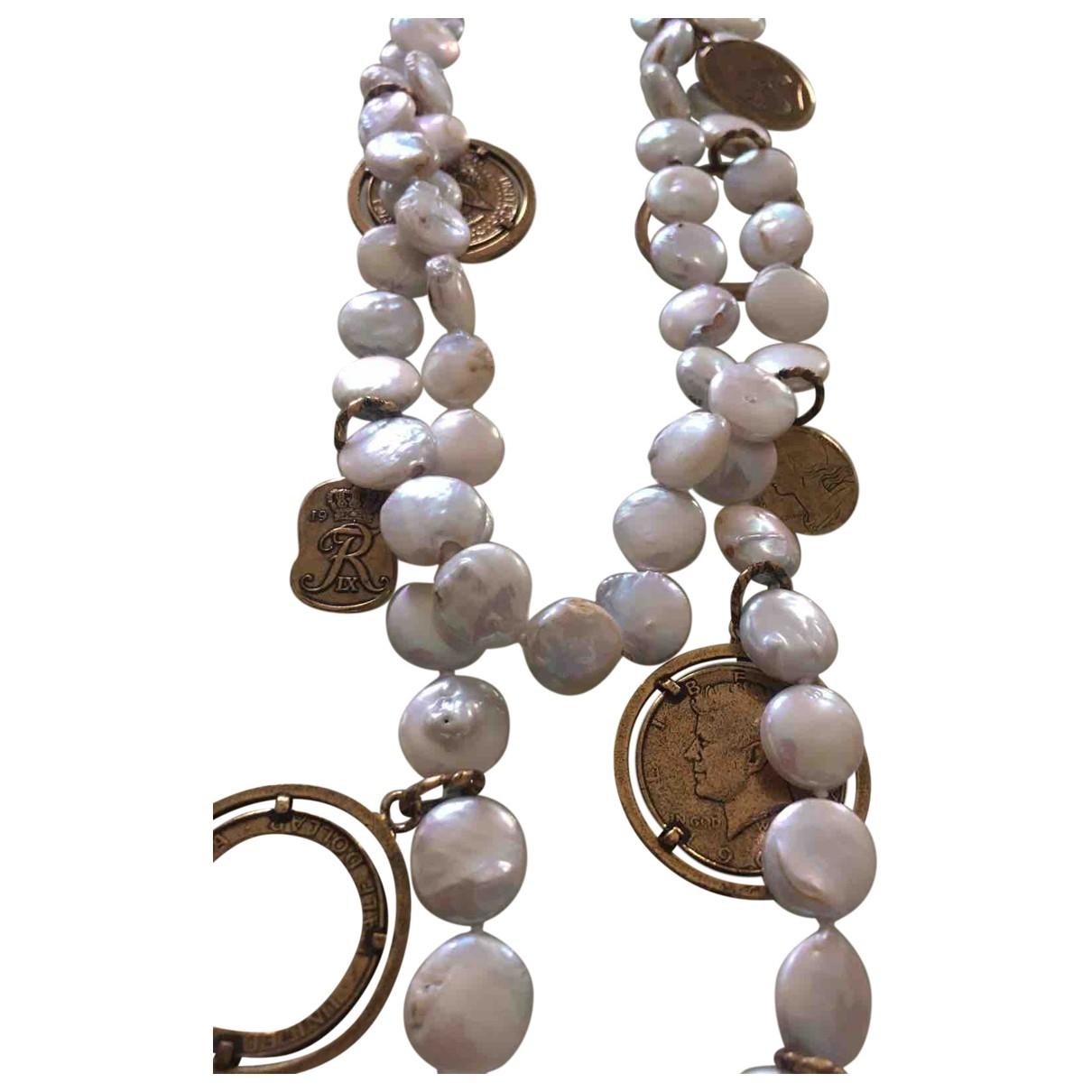 - Sautoir Medailles pour femme en perles - blanc