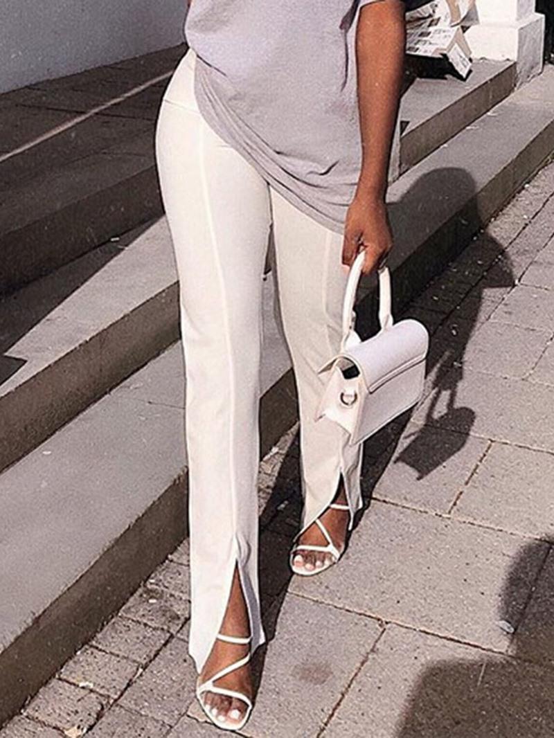 Ericdress Plain Slim High Waist Full Length Casual Pants