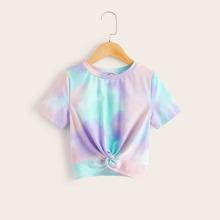Maedchen T-Shirt mit Batik und Twist