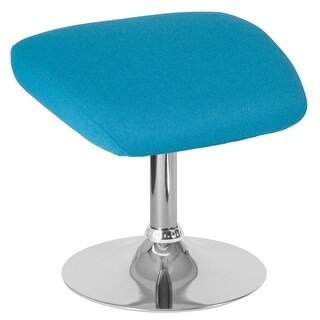 Fabric Ottoman Footrest with Chrome Base - Living Room Furniture (Aqua)
