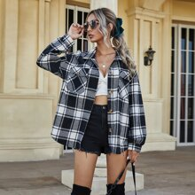 Plaid Flap Pockets Wool-mix Overshirt