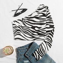 Camisetas Estampado de Cebra Casual