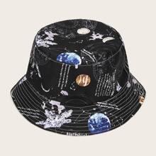 Maenner Planet Muster Schnalle Hut