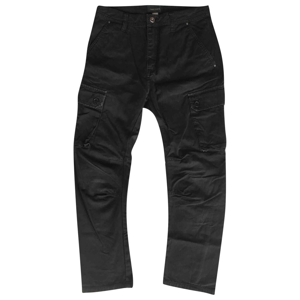 Pantalones en Algodon Negro Diesel