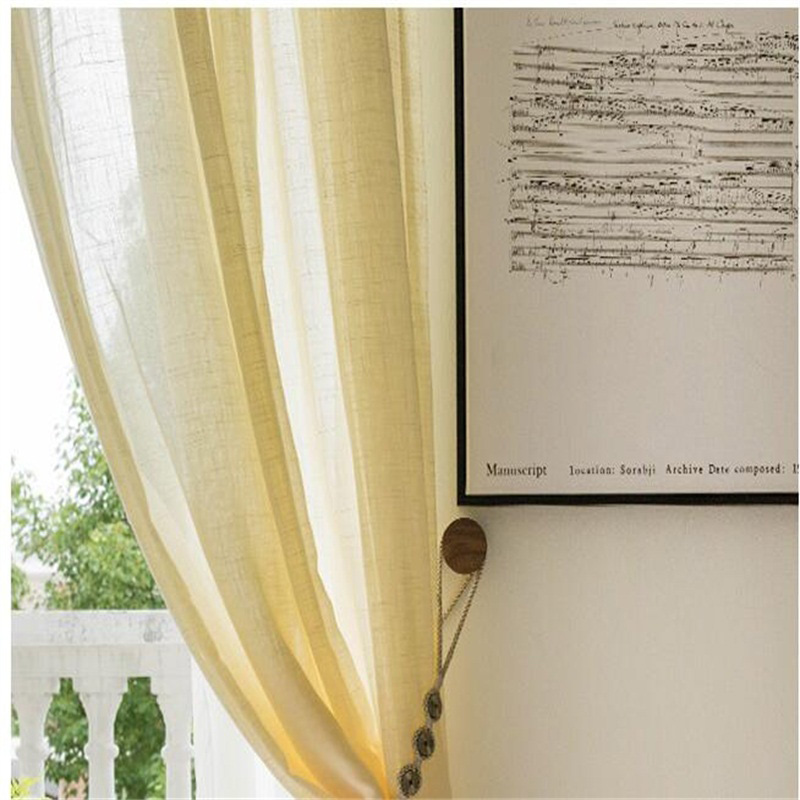 Romantic and Modern White Cotton Custom Sheer Curtain for Living Room