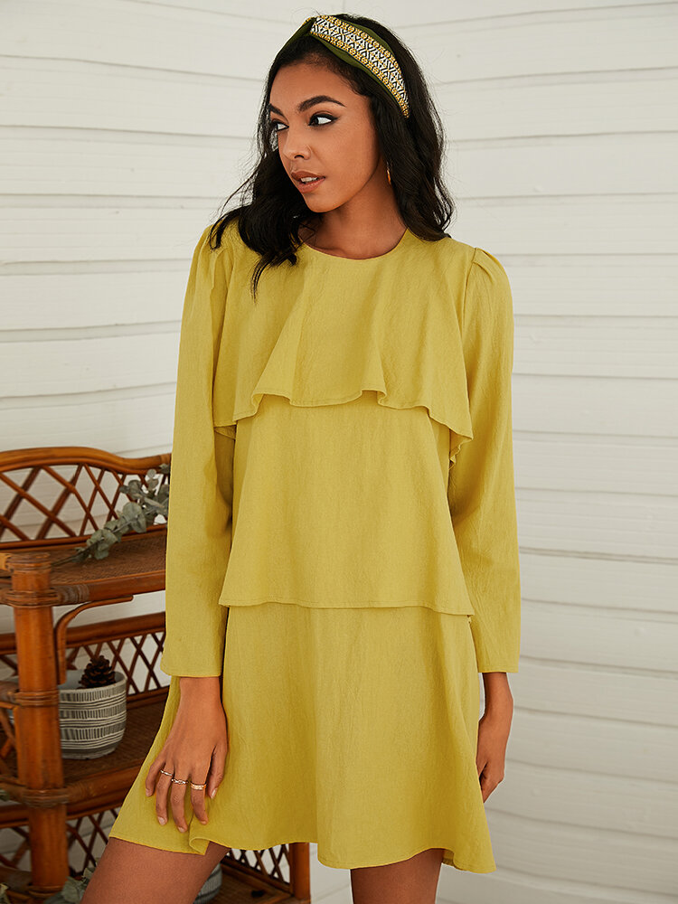 Layered Solid Color Long Sleeve Loose Casual Dress For Women