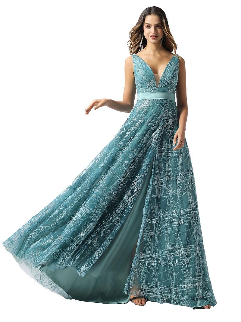 Ericdress A-Line Lace V-Neck Sleeveless Prom Dress 2020