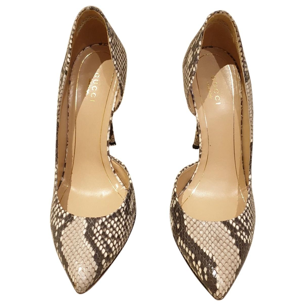 Gucci - Escarpins   pour femme en python - beige