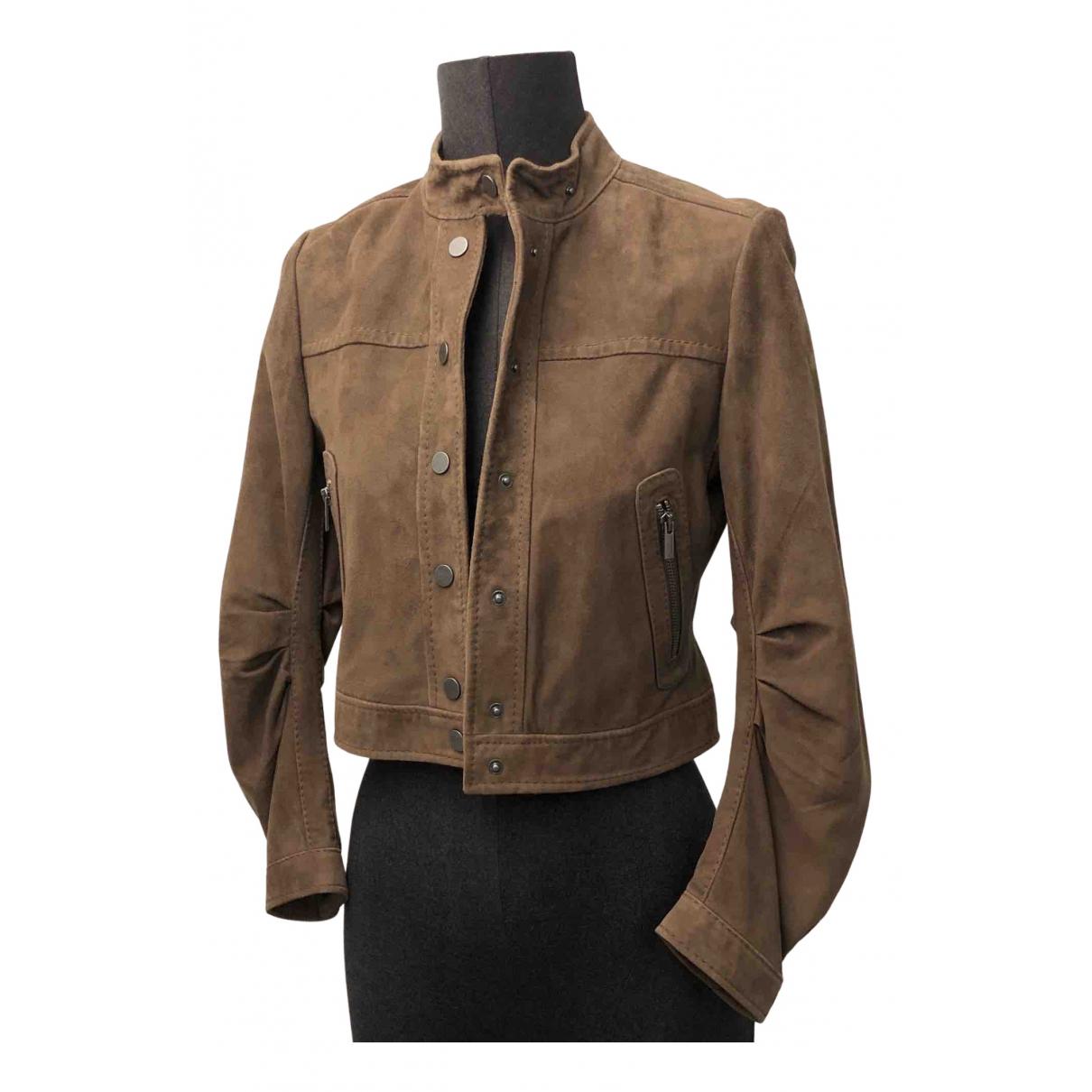 Bcbg Max Azria - Veste   pour femme en cuir - marron