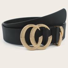 Cinturon PU con hebilla con diseño de letra