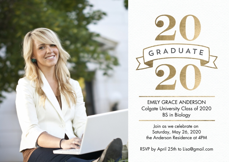 2020 Graduation Announcements 5x7 Cards, Standard Cardstock 85lb, Card & Stationery -2020 Grad Simple Banner by Tumbalina