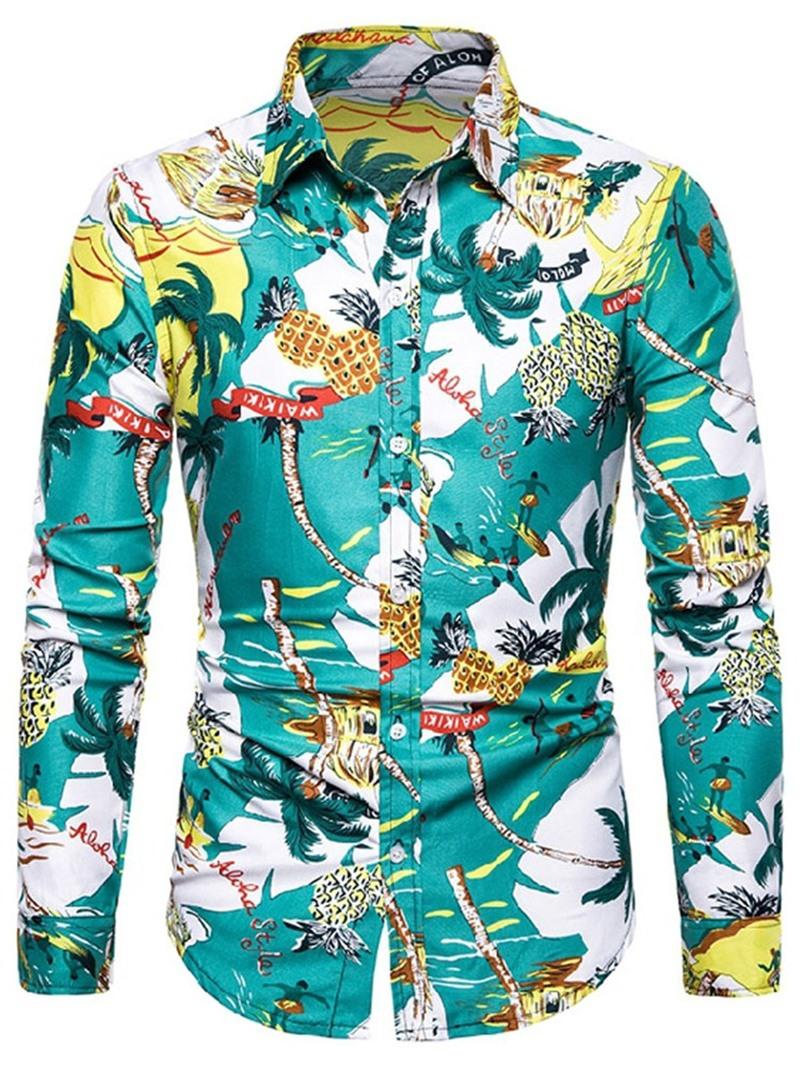 Ericdress Plant Fashion Print Single-Breasted Mens Slim Shirt