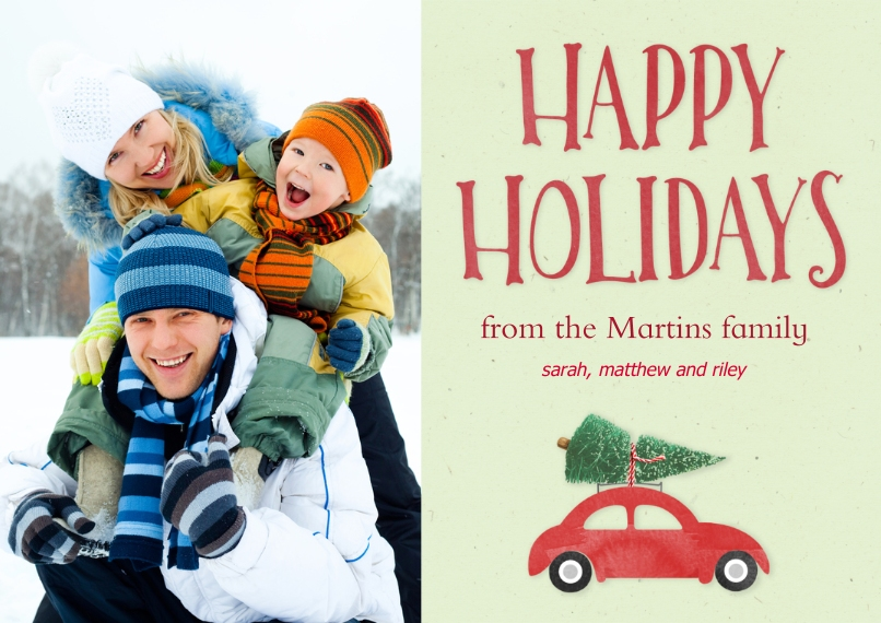 Fun & Festive 5x7 Cards, Premium Cardstock 120lb with Rounded Corners, Card & Stationery -Holiday Car