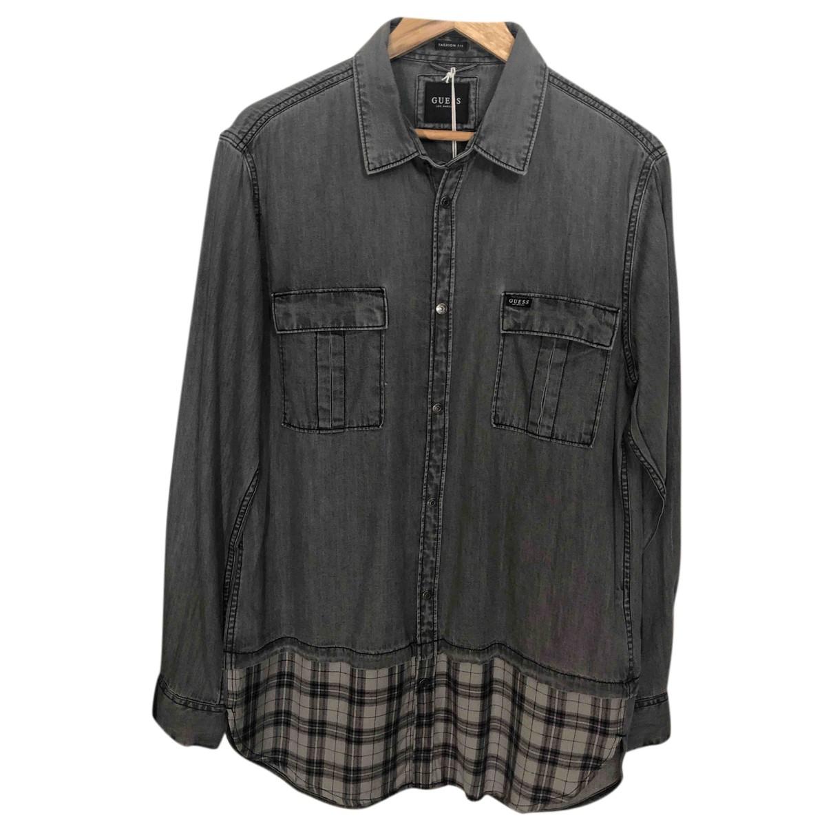 Guess - Chemises   pour homme en coton - gris