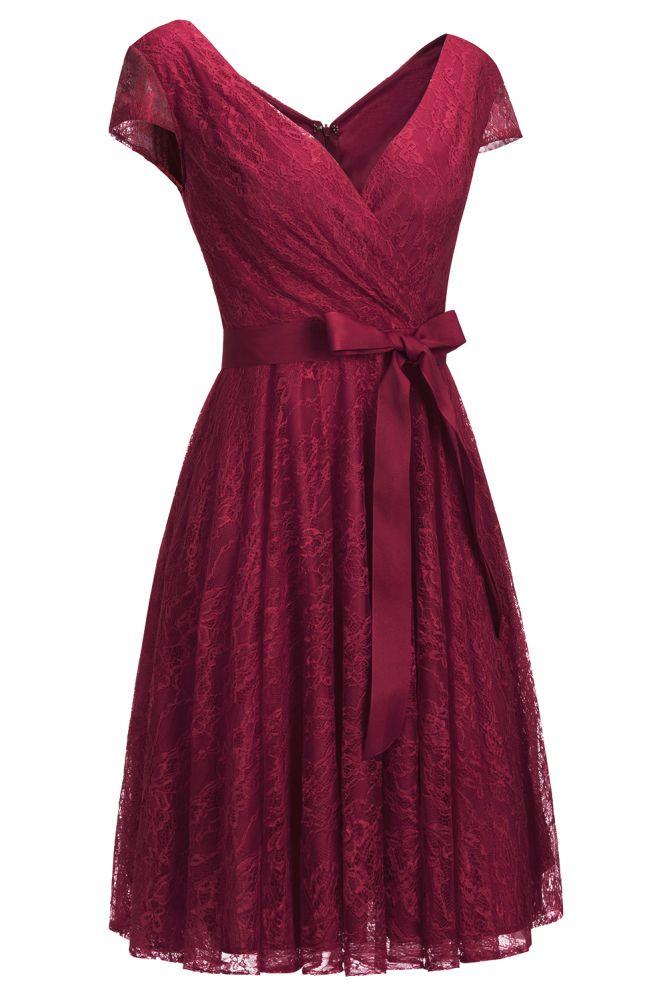 Una linea de Shoet mangas con cuello en v vestidos de encaje con arco