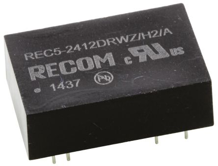 Recom REC5 5W Isolated DC-DC Converter Through Hole, Voltage in 9 → 36 V dc, Voltage out ±12V dc Medical Approved