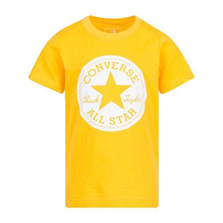 Converse Big Boys Crew Neck Short Sleeve Graphic T-Shirt, Small (8) , Yellow