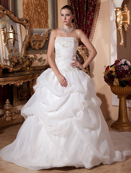 Milanoo White Wedding Dresses Ball Gown Bridal Dress Strapless Organza Beading Ruched Chapel Train Wedding Gown