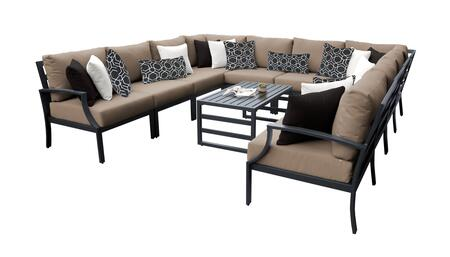 Lexington LEXINGTON-11a-WHEAT 11-Piece Aluminum Patio Set 11a with 1 Left Arm Chair  1 Right Arm Chair  2 Corner Chairs  6 Armless Chairs and 1