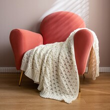 Solid Color Hollow Knitted Blanket