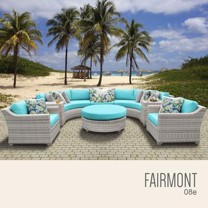 FAIRMONT-08e-ARUBA Fairmont 8 Piece Outdoor Wicker Patio Furniture Set 08e with 2 Covers: Beige and
