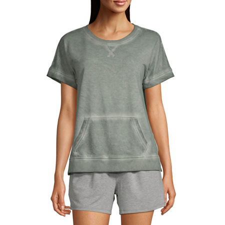 Ambrielle Womens French Terry Pajama Top Round Neck, Medium , Green