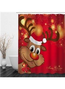 Cute Cartoon Reindeer Printing Christmas Theme Bathroom 3D Shower Curtain