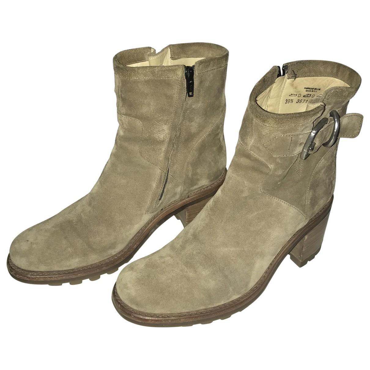 Free Lance - Boots   pour femme en cuir - beige