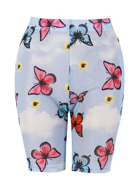 Milanoo Leggings para mujer Pantalones cortos de yoga con estampado de mariposa azul