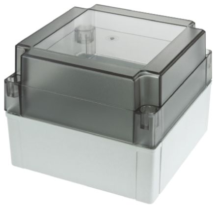 Fibox MNX, Grey, Smoked Transparent Polycarbonate Enclosure, IP66, IP67, 130.1 x 130.1 x 100mm