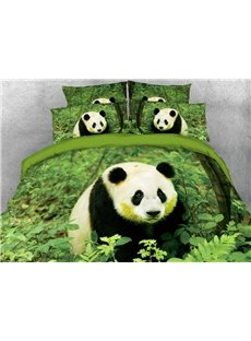 Vivilinen Panda Sitting in Green Leaves Digital Printed Cotton 3D 4-Piece Bedding Sets/Duvet Covers