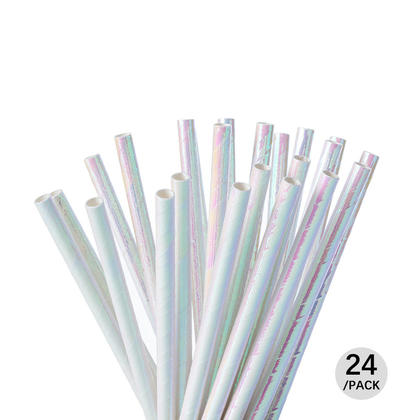 Iridescent Shiny Disposable Drinking Paper Straws for Celebration and Parties, 24Pcs - Livingbasics™