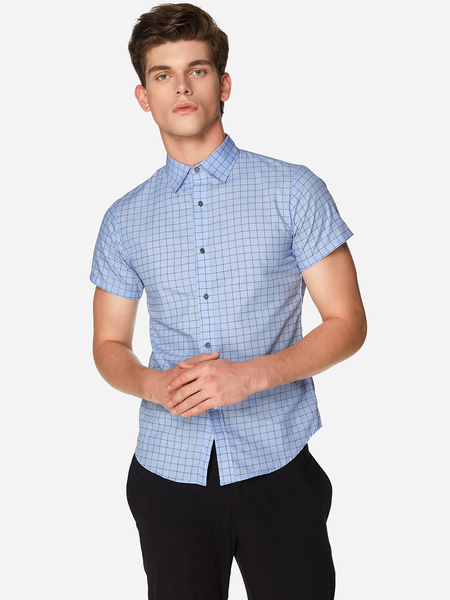 Yoins Light Blue Fashion Style Button Design Classic Collar Short Sleeve Men's Checked Shirt